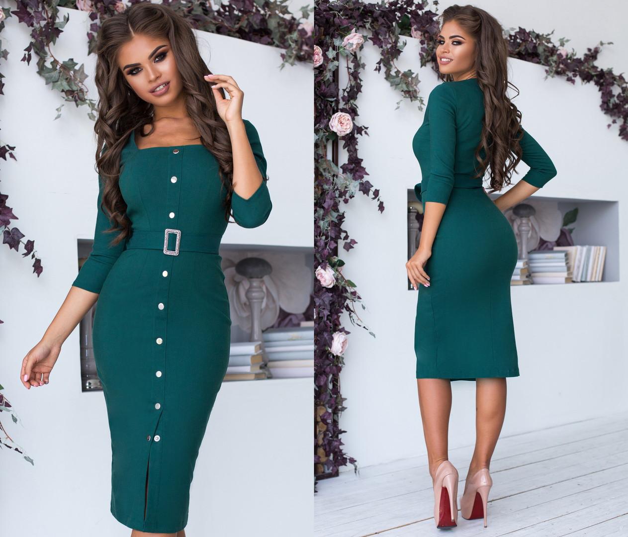 Женское облегающее платье миди на кнопках с декольте,с длинным рукавом. Размеры: 42-44, 44-46, 46-48 . + Цвета