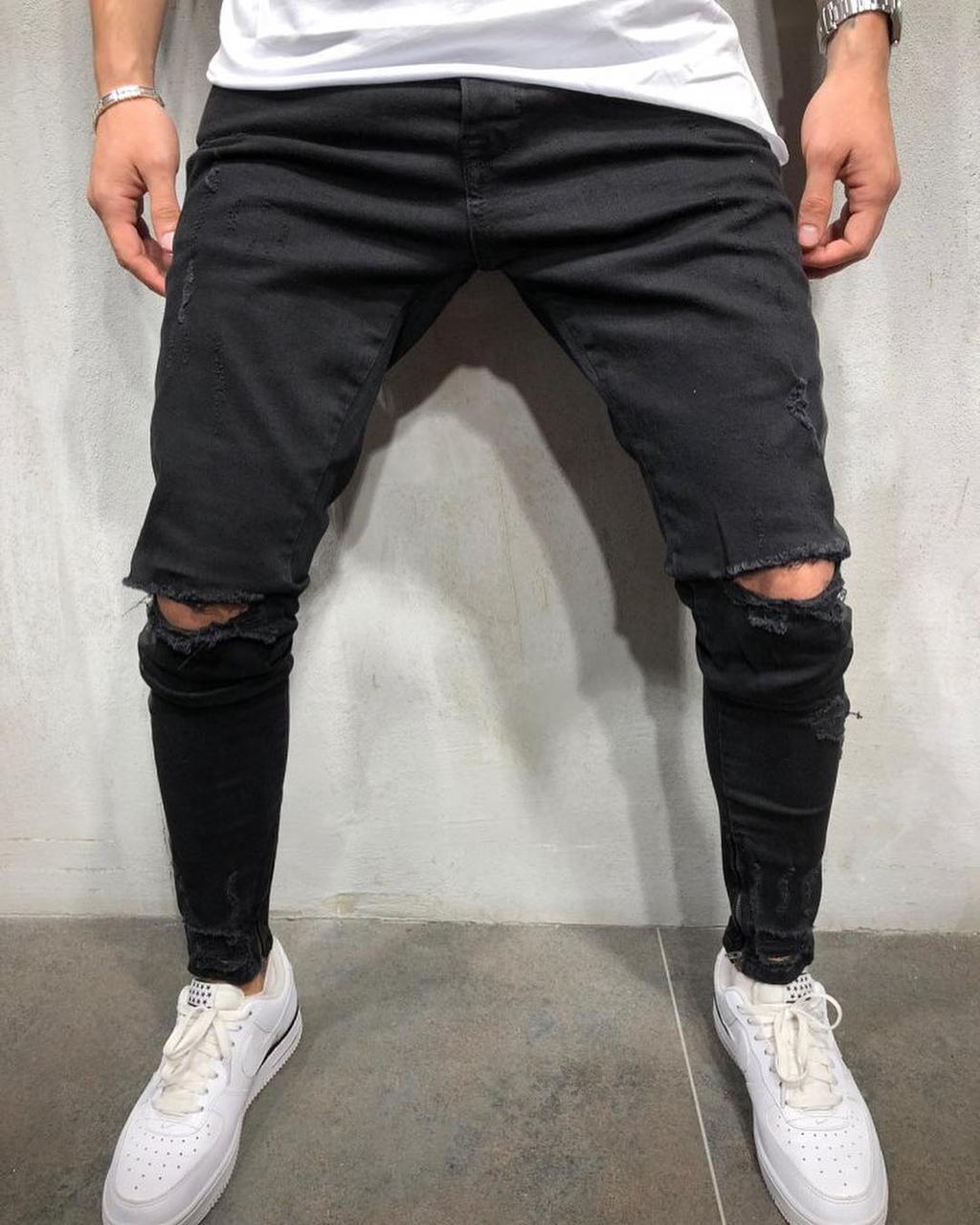 9278185cdc4 мужские джинсы с дырками на коленях рваные джинсы черные зауженные