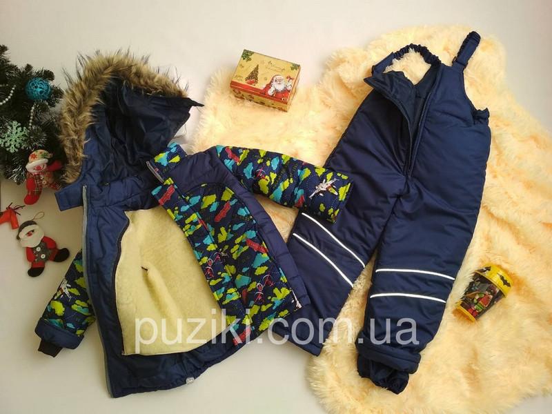 Зимний комбинезон с мехом для мальчика Самолетики