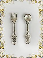 Набор - металлическая вилка и ложка (серебро)