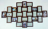 """Деревянная эко мультирамка """"История"""" орех, бесцветный, белый, чёрный, венге, серый., фото 1"""