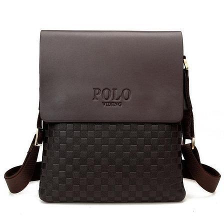 """Кожаная мужская сумка через плечо """"POLO"""""""