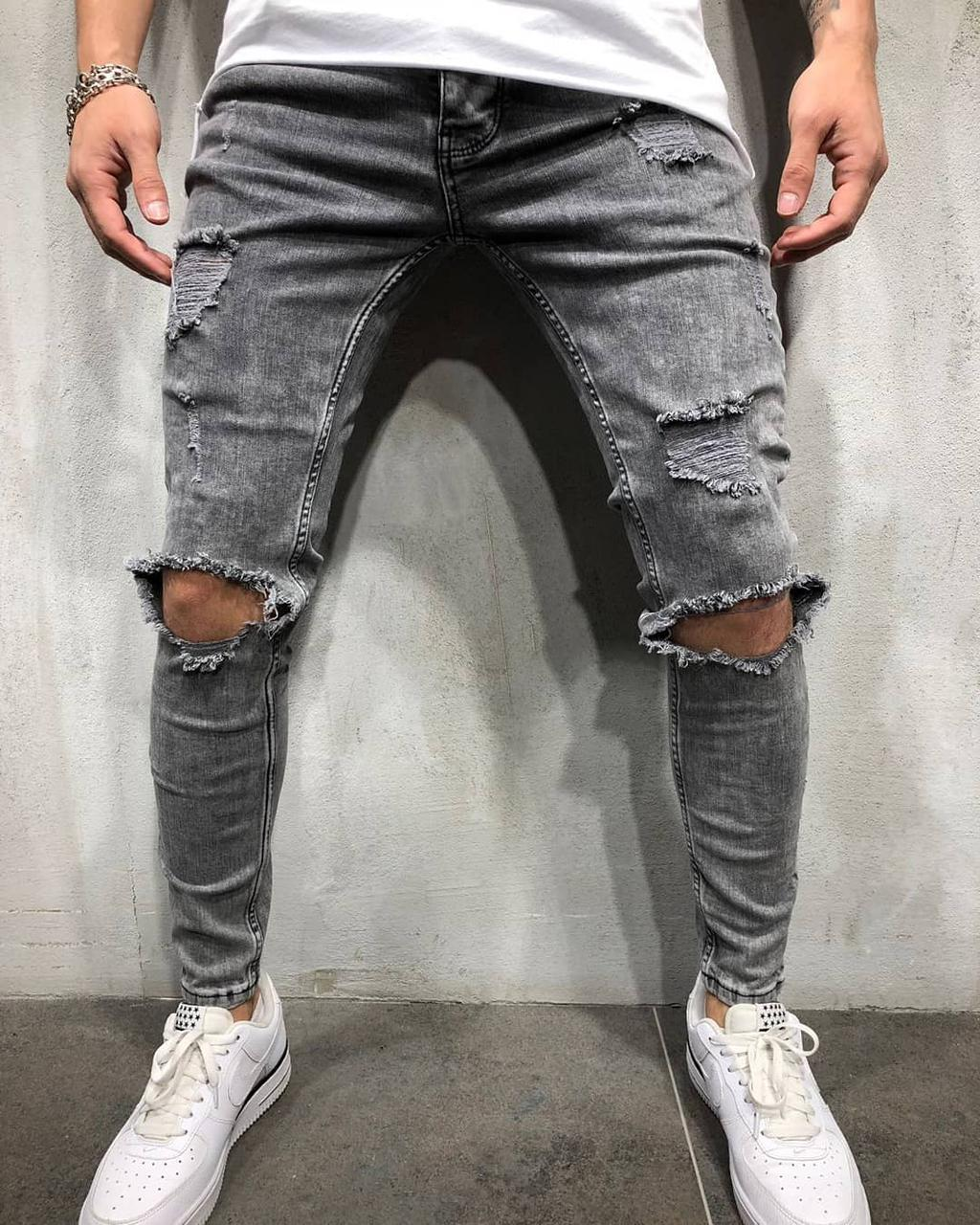 13bf795db4f Мужские джинсы с дырками на коленях (рваные джинсы) серые зауженные -  Krossovki в Киеве