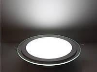 Круглый врезной светильник 6 Вт Downlight нейтральный белый круг (4200К) Glass Rim, фото 1