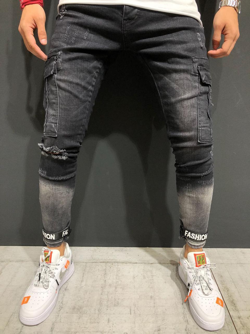 b6c8251c9a8 Мужские джинсы с дырками на коленях (рваные джинсы) черные серые зауженные  - Krossovki в