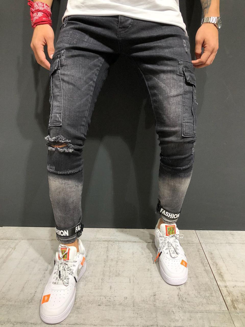 25f24f8853d Мужские джинсы с дырками на коленях (рваные джинсы) черные серые зауженные