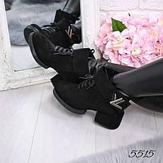 """Копия Ботинки, ботильоны черные на каблуке """"L&V"""" эко замша, повседневная, демисезонная, осенняя, женская обувь, фото 2"""