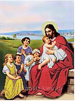 Схема для вышивки  Иисус Христос с детьми