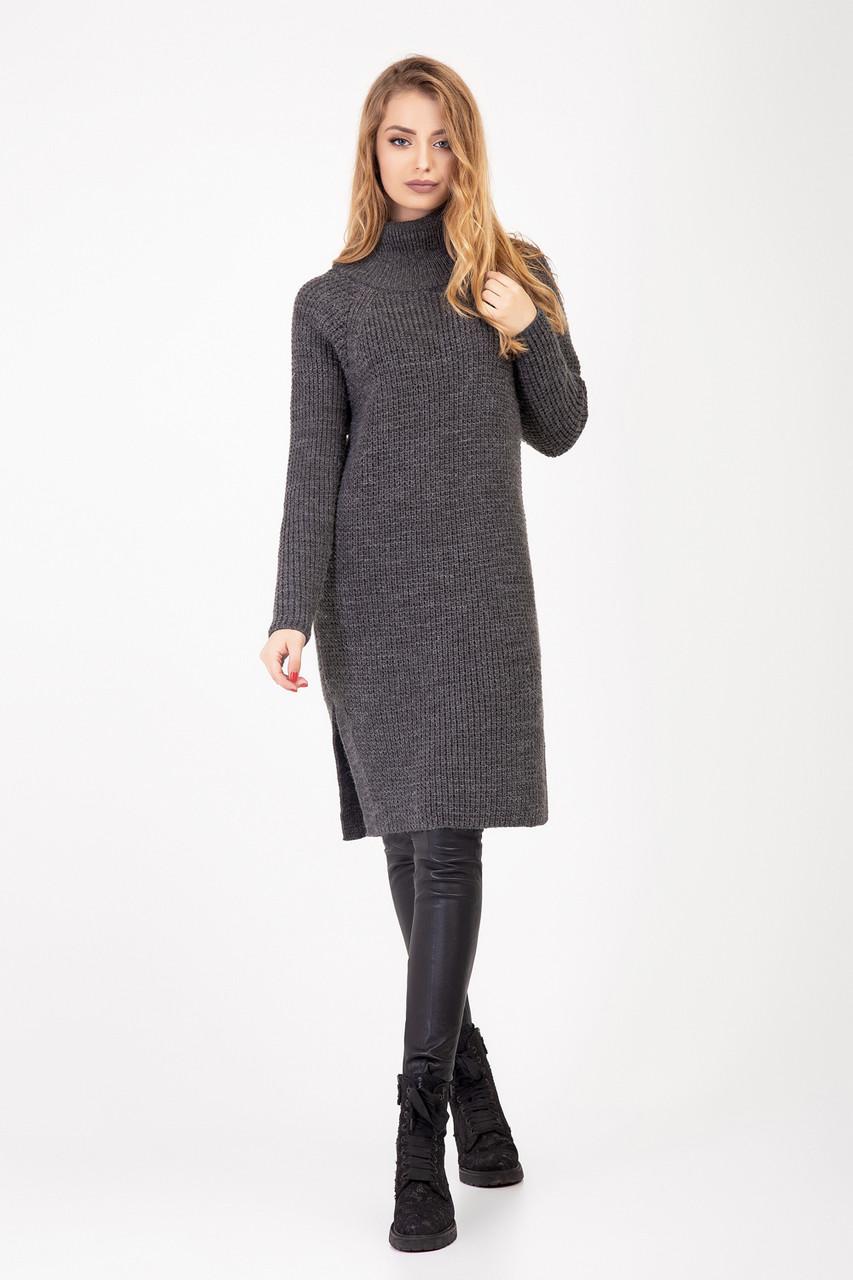 Платье-туника из шерстяной пряжи темно-серое