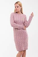 Вязаное платье Ручеек, пудра, фото 1
