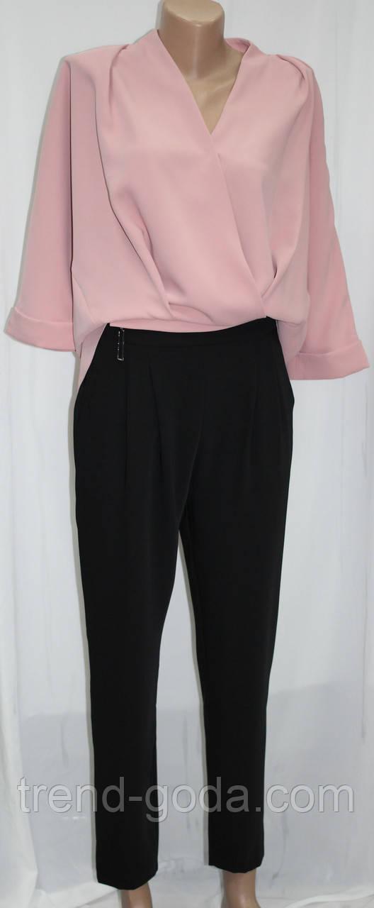 Костюм женский, розовая блуза и черные брюки, Турция