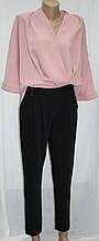 Костюм брючный женский, розовая блуза и черные брюки, Турция
