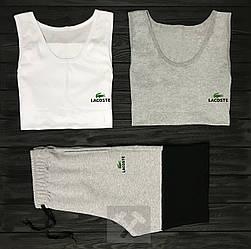 Мужской комплект две майки + шорты Lacoste черного серого и белого цвета (люкс копия)