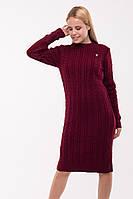 Вязаное платье Ромашка, бордо, фото 1