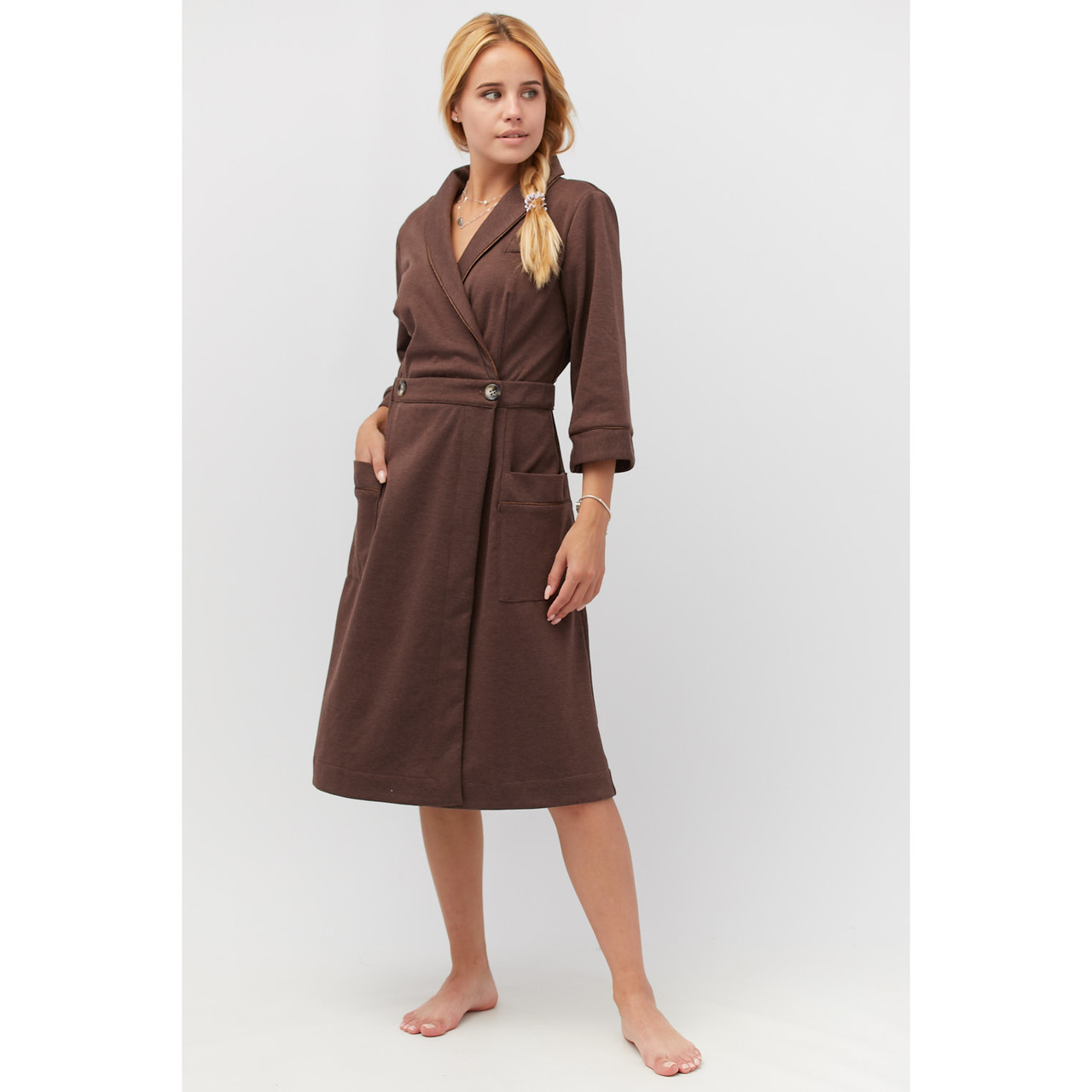 Халат трикотажный темно-коричневый
