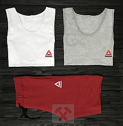Мужской комплект две майки + шорты Reebok черного серого и красного цвета (люкс копия)