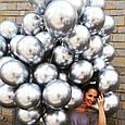 """Хром.Серебро (Silver) . Воздушный латексный шар 12"""" дюймов 28 - 30 см., фото 2"""