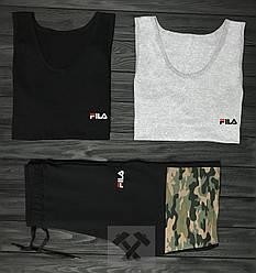 Мужской комплект две майки + шорты Fila черного серого и камуфляжного цвета (люкс копия)