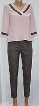 Костюм брючный женский, розовая блуза и брюки, Турция