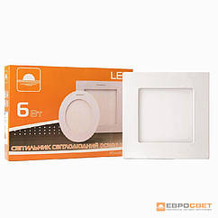 Светильник точечный врезной ЕВРОСВЕТ 6Вт квадрат LED-S-120-6 4200- 6400К