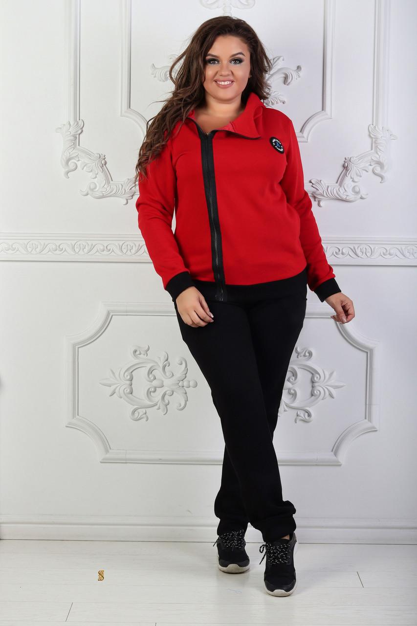 Спортивный теплый с начесом костюм женский: кофта на молнии сбоку и штаны на манжетах, батал большие размеры