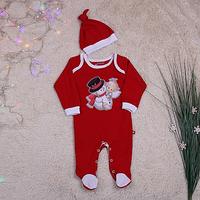 """Детский новогодний комбинезон слип """"Снеговик"""" для ребенка 0-18 месяцев (р. 56-86) ТМ Brilliant Baby Красный"""