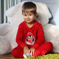 """Детский костюм-пижама """"Пингвин"""" для ребенка 1,5-4 года (свитшот и брюки, р. 86-104) ТМ Brilliant Baby Красный"""