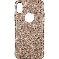 Чехол-накладка TOTO 2 in1 tpu + glitter paper case iPhone X Gold