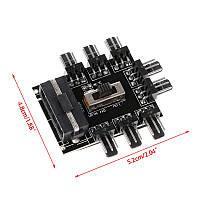 Сплиттер хаб для подключения 8 вентиляторов 12В 3pin от MOLEX молекс