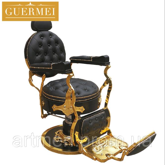 """Мужское парикмахерское кресло """"Guermei Black Lux"""""""