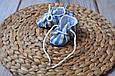Пинетки хлопковые, сине-песочная клетка, фото 4