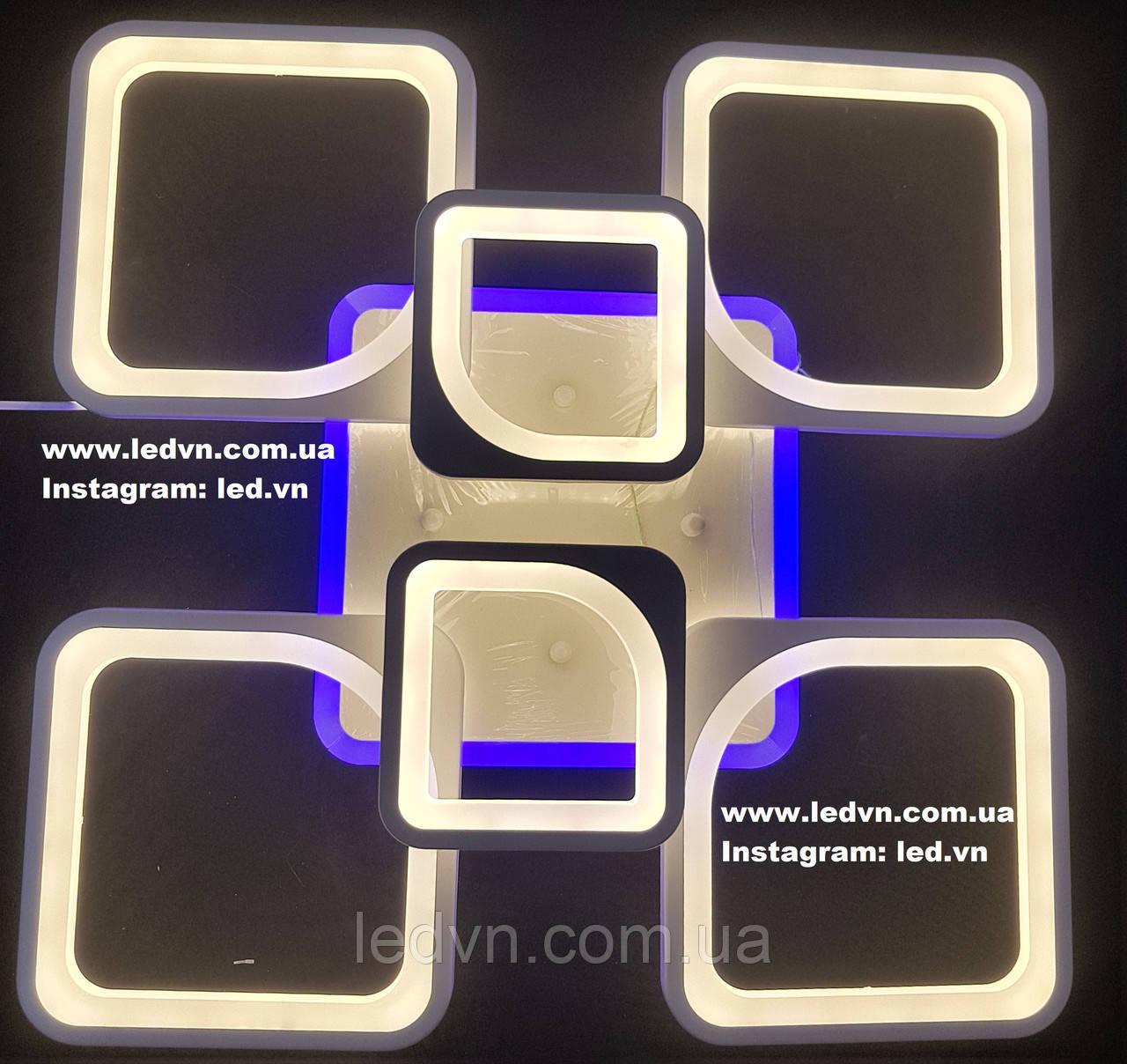Светодиодная (led) люстра 4+2 квадрата с синей подсветкой белая