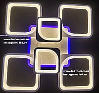 Светодиодная (led) люстра 4+2 квадрата с синей подсветкой белая, фото 1
