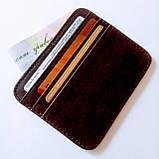 Кожаный картхолдер на 6 отделений коричневый, фото 2