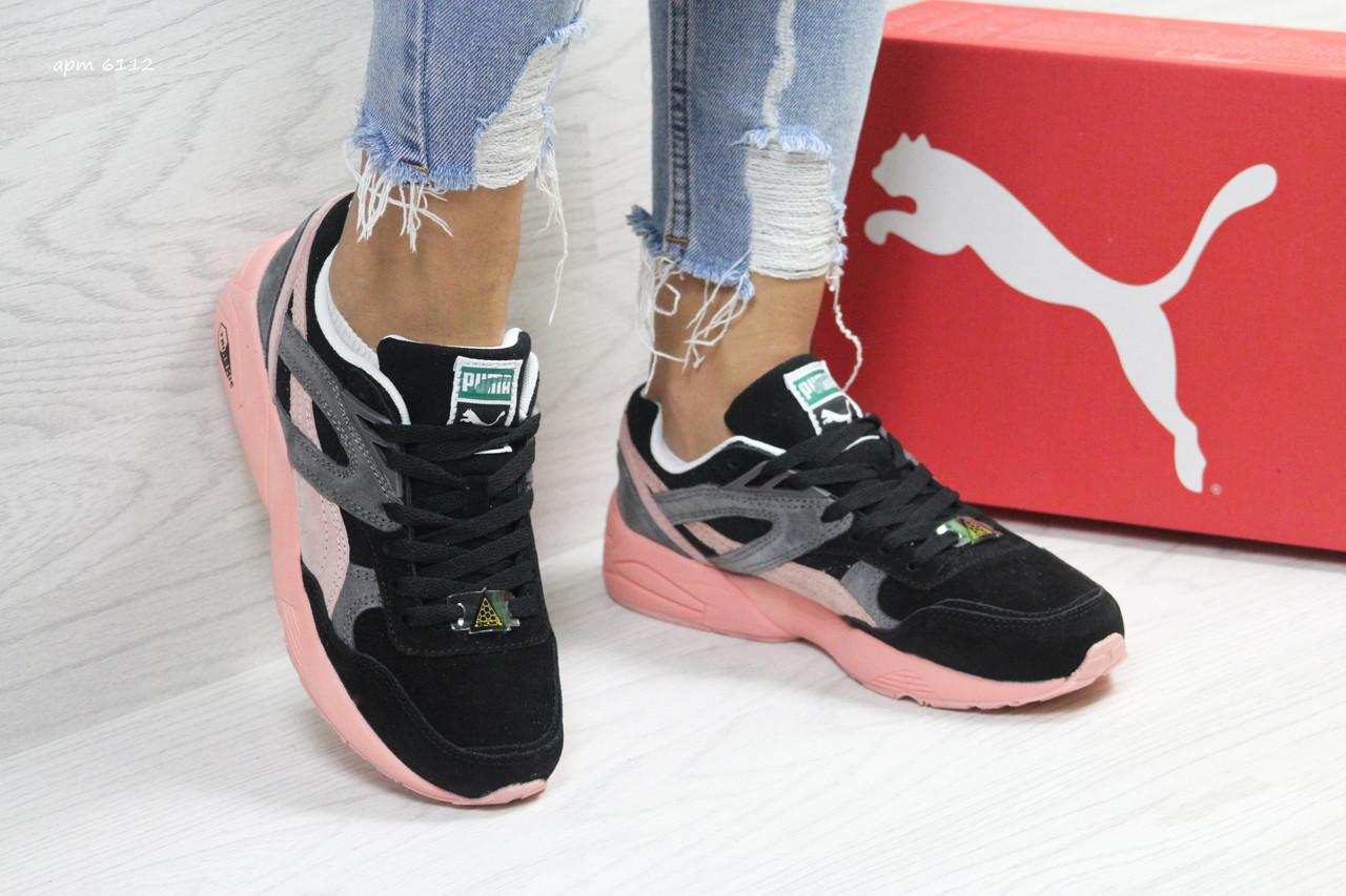 212520cf Женские кроссовки Puma Suede черные с розовым (Реплика ААА+) ...