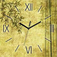 Часы настенные Зеленый Бамбук квадратные