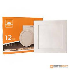 Светильник точечный врезной ЕВРОСВЕТ 12Вт квадрат LED-S-170-12 4200К- 6400К