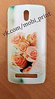 Чехол для HTC Desire 500 (персиковые розы)