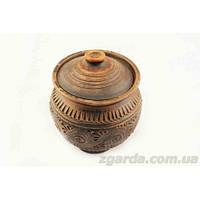 Горшок глиняный с крышкой