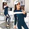Оригинальный женский спортивный костюм штаны и кофта с белыми вставками и разрезом на плече, фото 4
