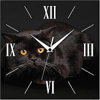 Часы настенные Черный кот квадратные