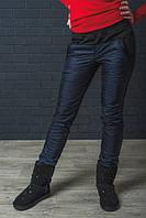 Штаны женские теплые мех+плащевка темно-синие 42-54 р-ры