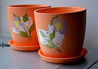 Горшок цветочный керамический с принтом