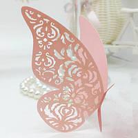 Декор для украшения бокалов, свадебные картонные бабочки персик