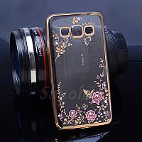 Чехол/Бампер со стразами для Samsung Galaxy Core Prime / G360/G361, Золото (Силиконовый)