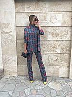 """Ангоровый брючный женский костюм в клетку """"NOMA"""" с цветочным принтом (2 цвета)"""