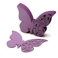 Декор для украшения бокалов, свадебные картонные бабочки сирень