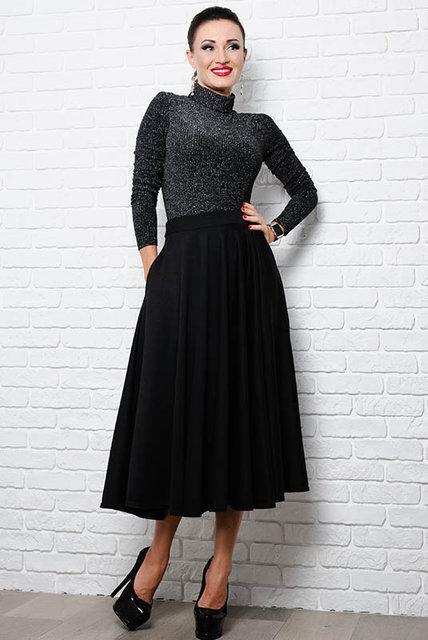 6907c97c1d9 Трикотажная юбка с карманами Черная  продажа