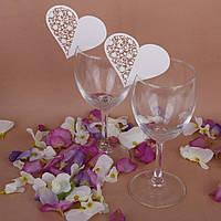 Декор для украшения бокалов, свадебные картонное сердце