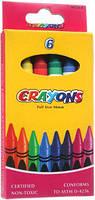 Карандаши восковые, Crayons, 6 цветов